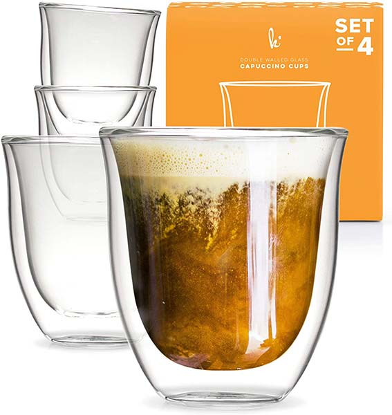 Glass Cappuccino Cups Double Walled Coffee Glasses