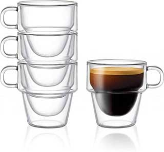 Stoiva Double Wall Insulated Espresso Glass Cups