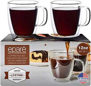 12 oz Glass Coffee Mugs