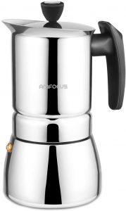 Amfocus Stovetop Espresso Coffee Maker Stainless Steel Moka Pot 6 Cups Espresso
