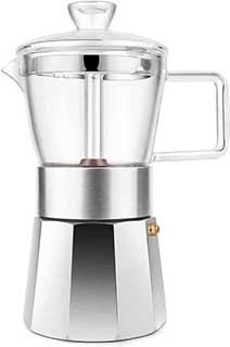 Geesta Premium Crystal Glass Top Stovetop Espresso Moka Pot 6 cup