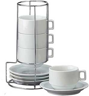 HIC 9 Piece Stackable Cappuccino Coffee Tea Set