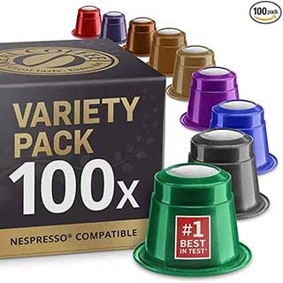 Mixed Variety Pack: 100 Nespresso Compatible Capsules