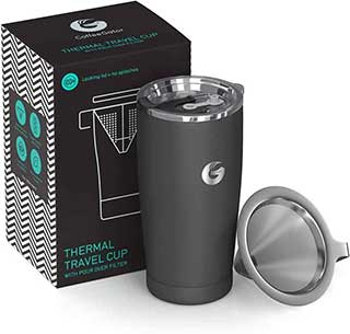 Pour Over Coffee Travel Mug - Coffee Gator all-in-one Travel Coffee Maker and Thermal Cup