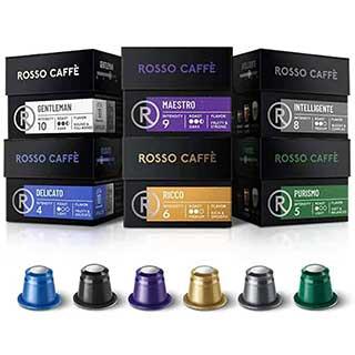Rosso Coffee Capsules for Nespresso Original Machine - 60 Gourmet Espresso Pods Variety Pack