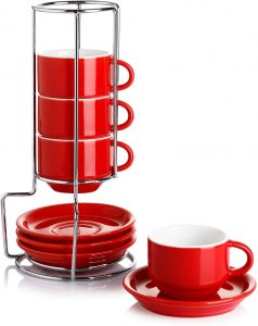 Sweese Porcelain Stackable Espresso Cups with Saucers and Metal Stand