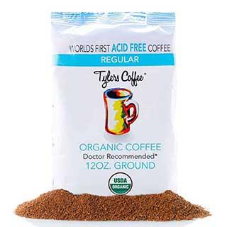 Tyler's No Acid Organic Ground Coffee - 100% Arabica Full Flavor - Neutral pH